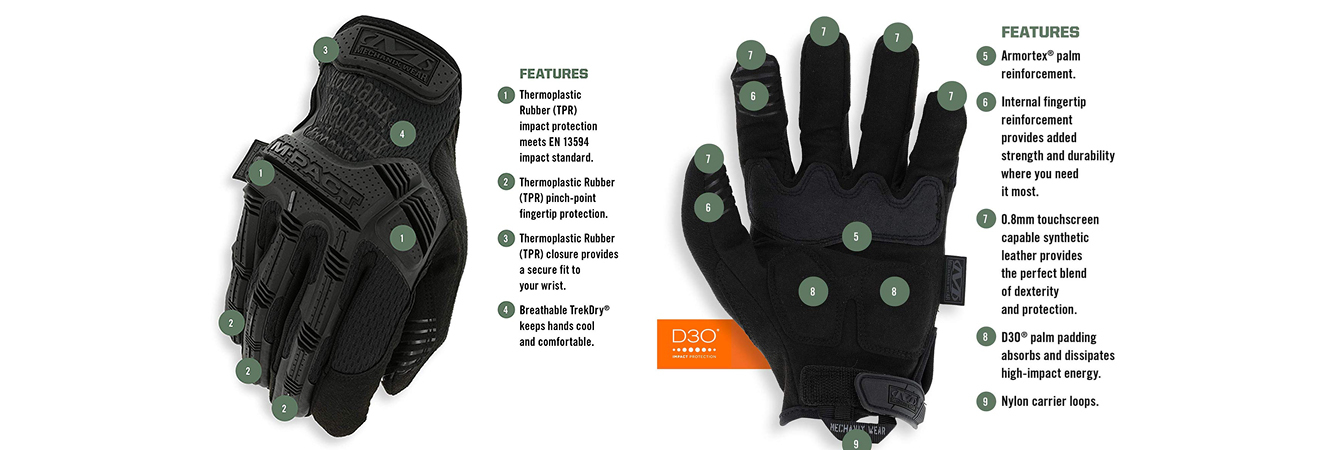 M-Pact Mechanix Gloves Off Road Use