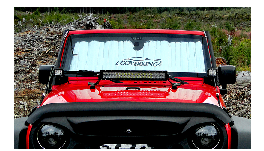 Windshield Sunshade to Sleep in a Wrangler JK during the day